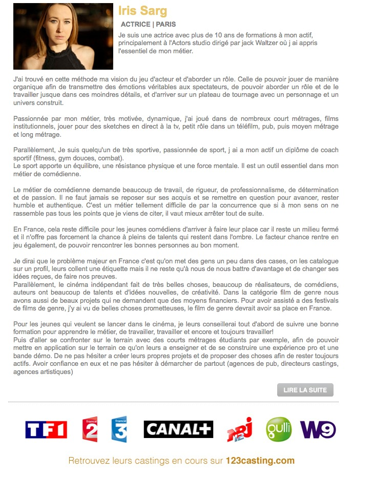 Iris SARG - Interview , Articles Médias , Parution & Collaboration Magazines